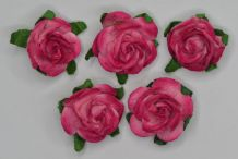 2.5cm CERISE PINK Mulberry Paper Roses (only flower head)
